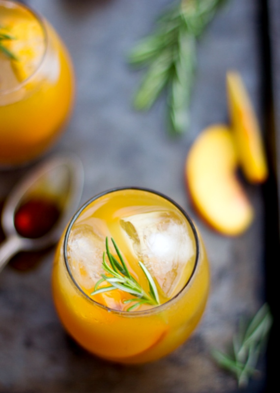 Sparkling rosemary-peach cocktail